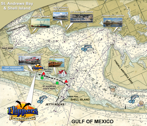 Flippers Map for Panama City Beach Dolphin Tours